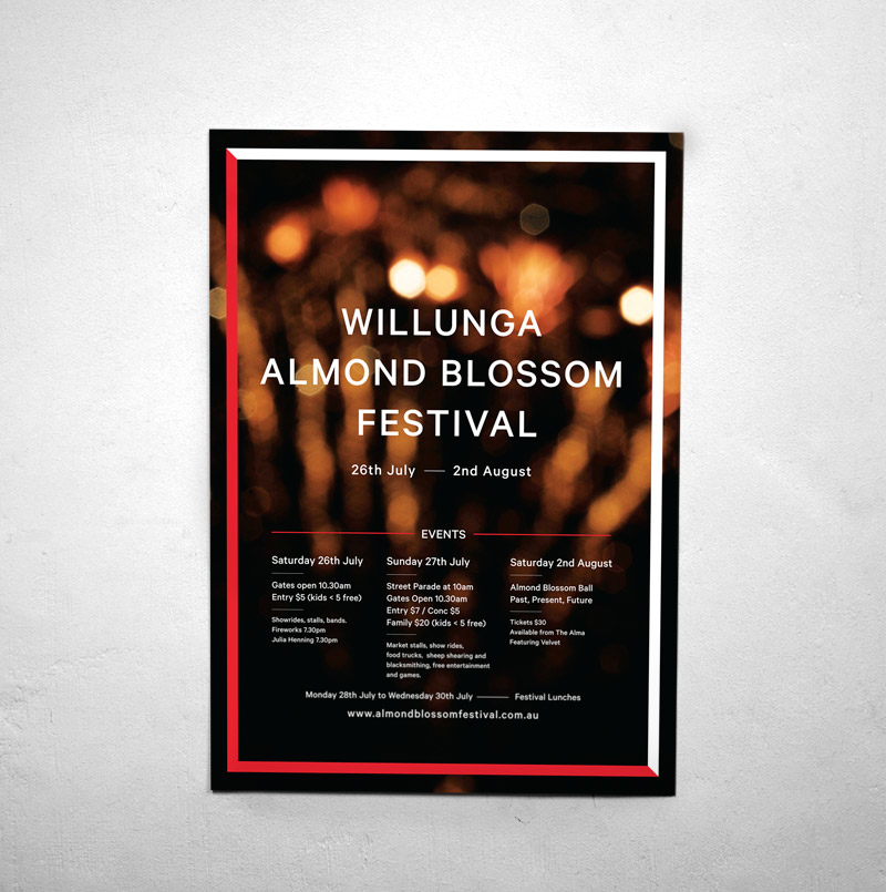 Draw Studio Willunga Almond Blossom Festival Graphic Design Poster